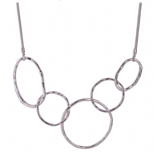 Bisoux Jewellery Short Silver Abstract Necklace